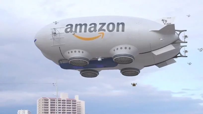 空中航母?亚马逊飞艇快递曝光里面全是无人机!