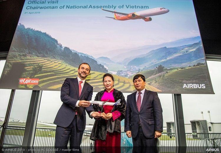 越捷航空A321neo交機儀式 越南國會主席出席觀禮