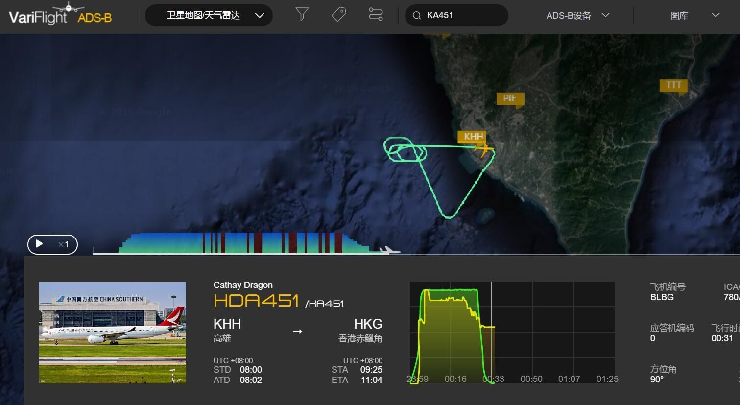 KA451航班轨迹图