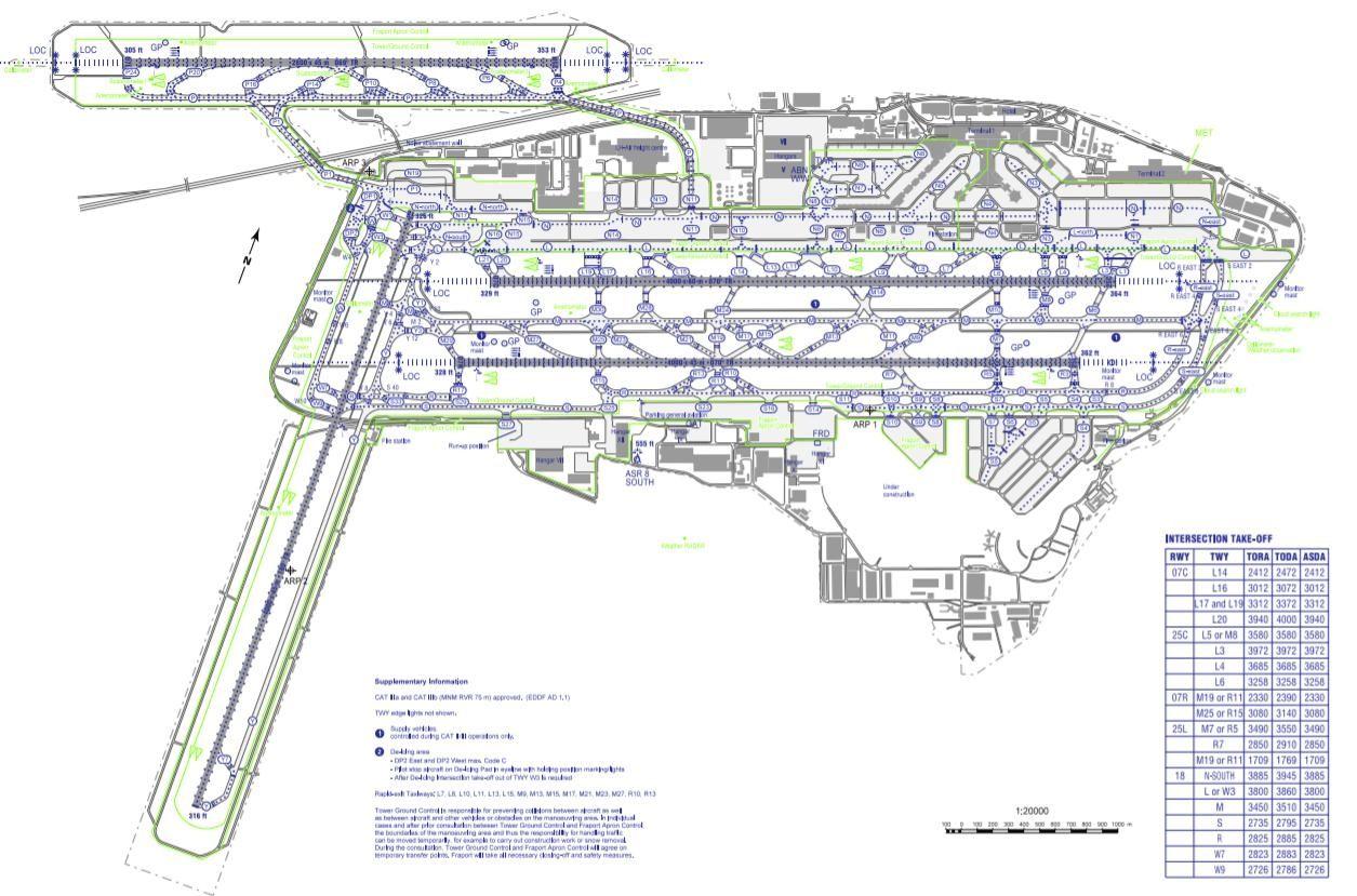 法兰克福机场的跑道平面图