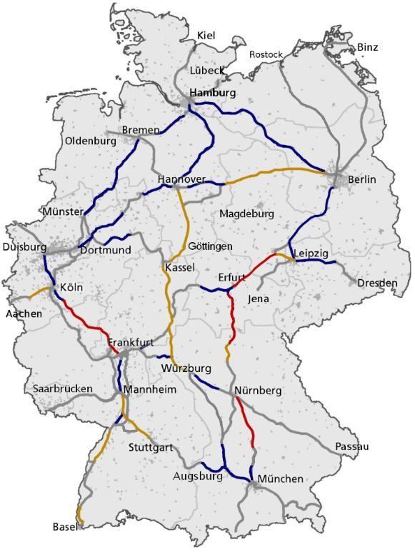 德国的高速铁路网络