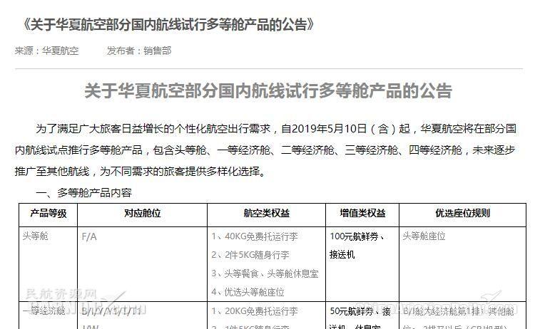 未来可期:华夏航空推多等舱产品 个性化服务成行业发展趋势