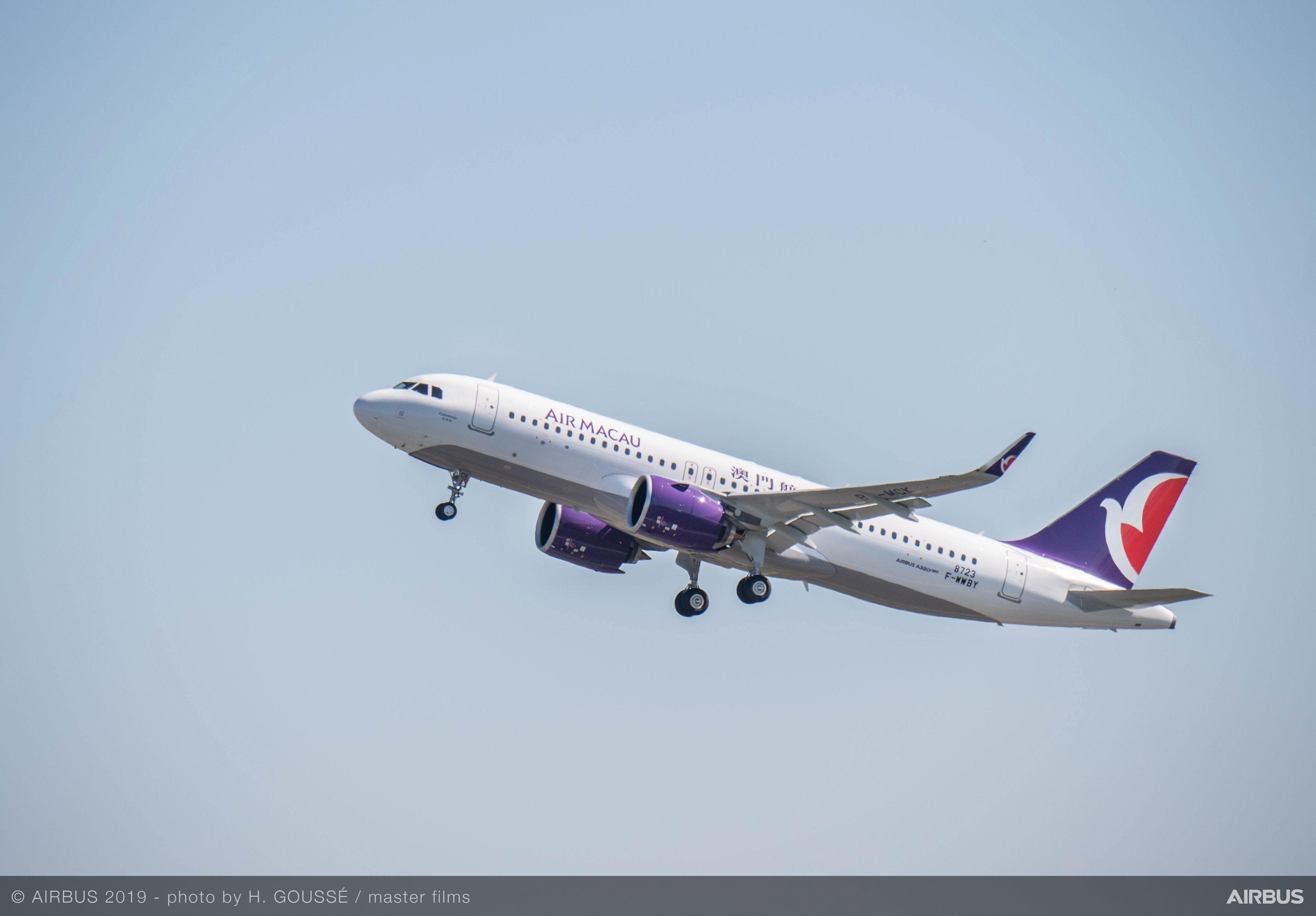 澳门航空接收由普惠发动机提供动力的首架A320neo