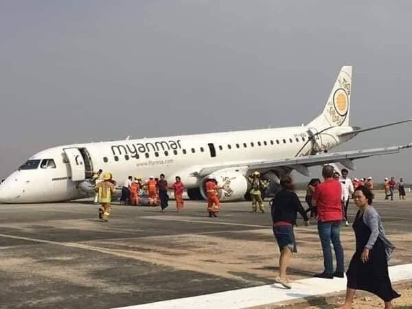 缅甸国家航空一架客机起落架无法放出 机头触地 图片来源:Arkar Phyo