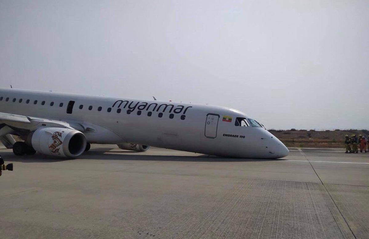 缅甸国家航空一架客机起落架无法放出 机头触地 图片来源:Aung Thur