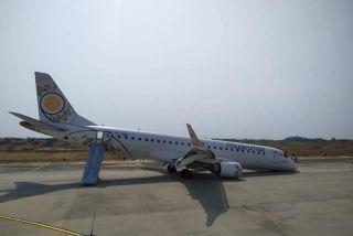 缅甸国家航空一架客机起落架无法放出 机头触地