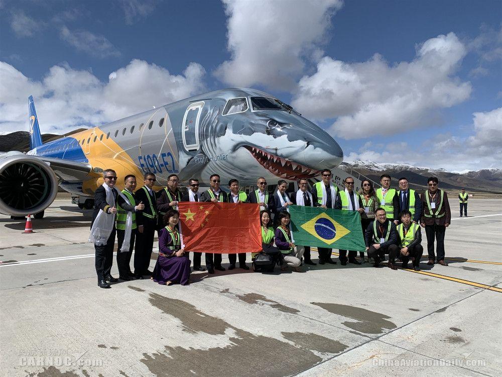 """巴航工业""""大鲨鱼""""涂装E190-E2再上高原演示飞行"""