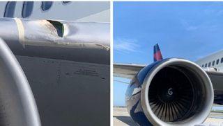 达美航班遭遇鸟击 飞机右翼受损严重