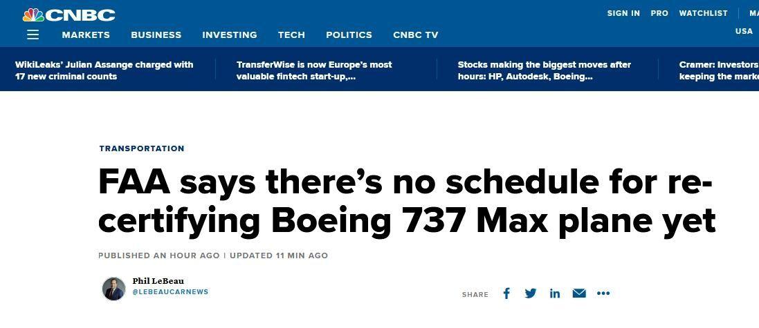 FAA否认将批准波音737Max复飞 称暂无时间表