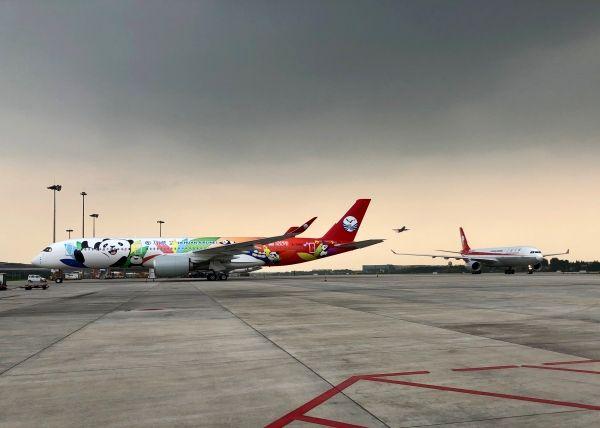"""川航迎第2架熊猫涂装A350与""""双流壹号""""A330"""