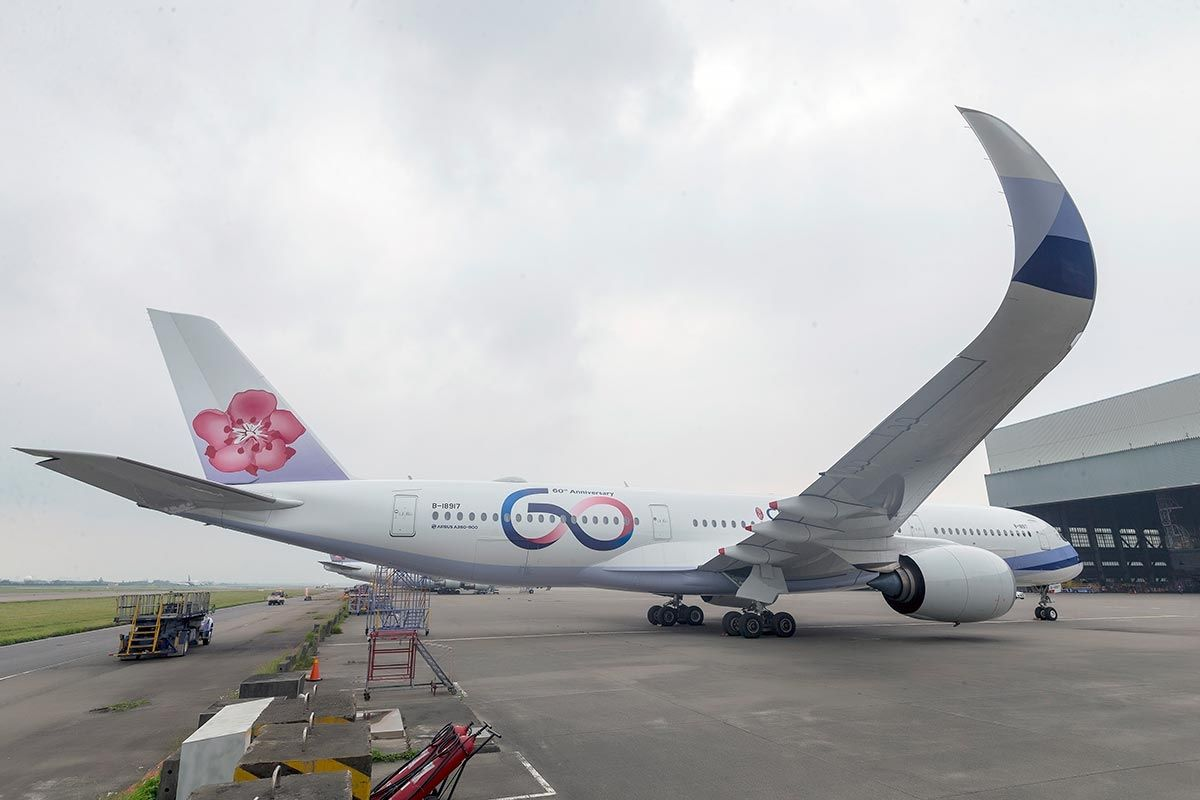 中华航空推出60周年纪念LOGO和彩绘涂装。华航官网