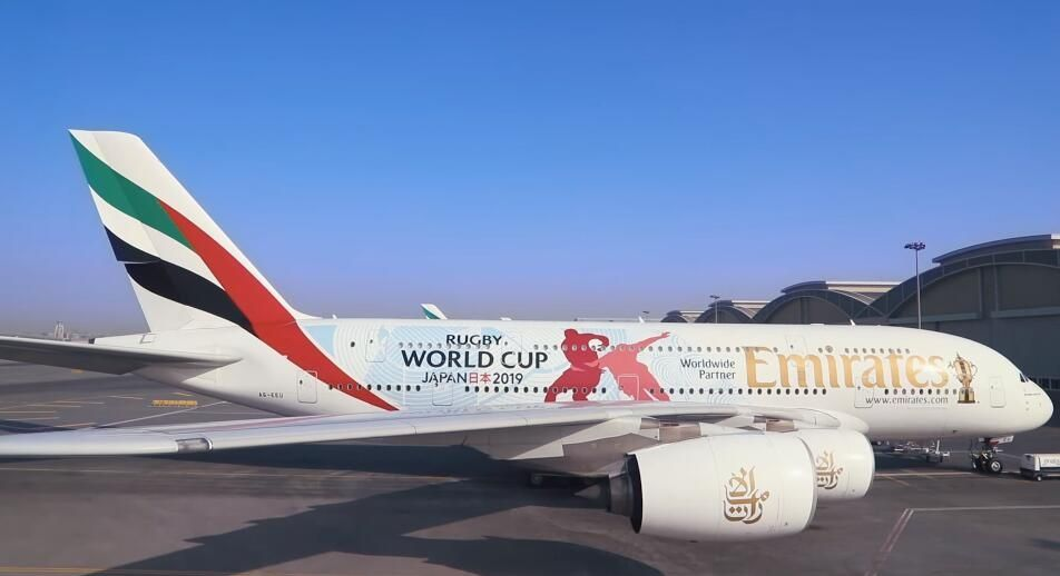 """阿联酋航空在A380上喷涂""""橄榄球世界杯""""主题涂装"""