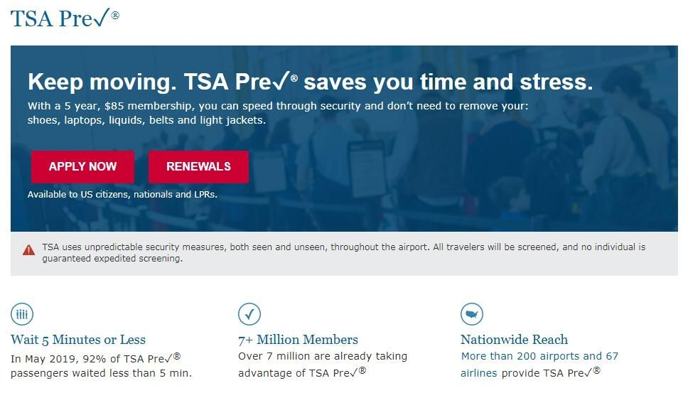 民航安检安保周报:TSA称预安检申请拒绝率不足1%