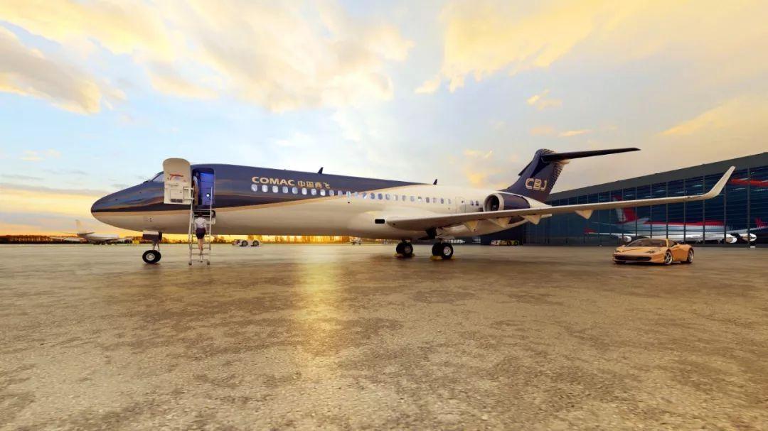 中国商飞CBJ公务机模型首次亮相巴黎航展!