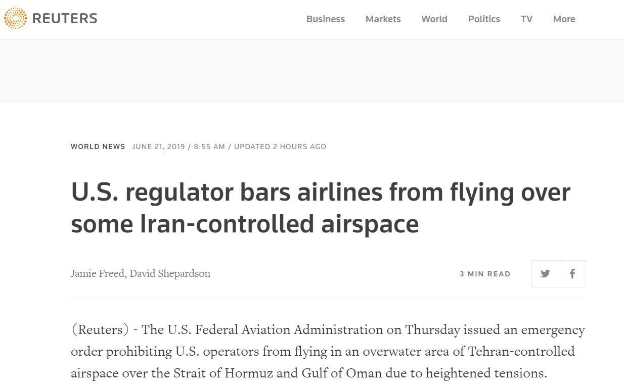 FAA:禁止美国航班飞越伊朗控制的阿曼湾等空域