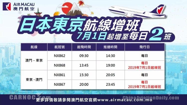 澳門航空運營的澳門—東京航線增至每日兩班