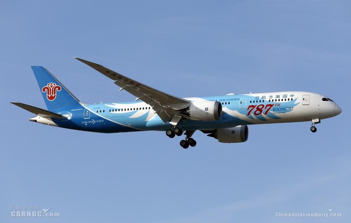 南航7月旅客周转量同比上升12.18% 引进飞机3架