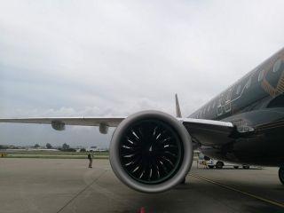 """巴航工业""""工程狮""""E195-E2飞机  摄影:Ason"""