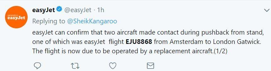 一架易捷航空客机与荷兰皇家航空一架客机发生剐蹭 航班被迫延误
