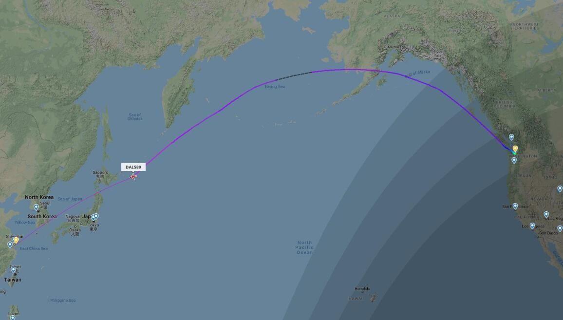 达美航空DL589航班轨迹图