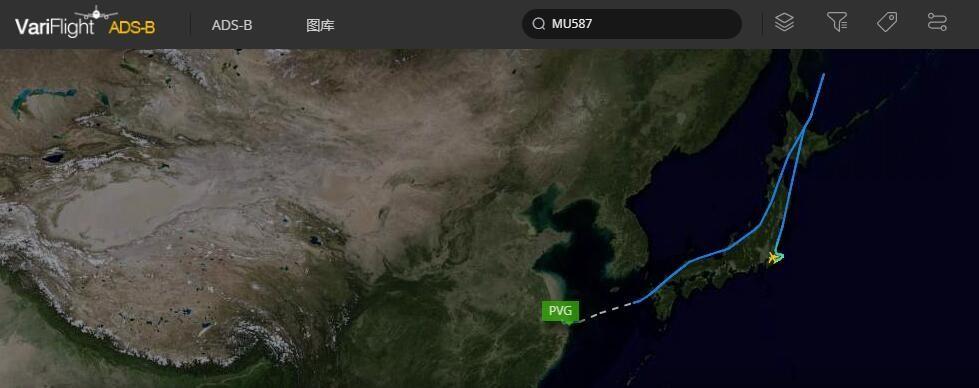 东航MU587航班轨迹图 图片来源:飞常准