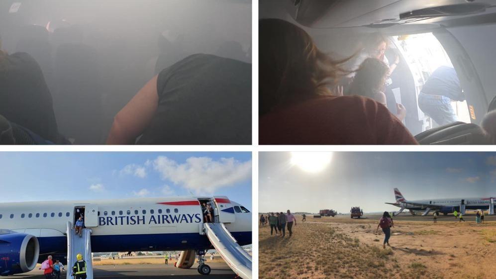 视频|机舱冒烟英航一客机紧急着陆 约20名乘客受伤