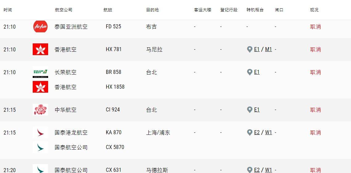 香港机场官网显示 后续出港航班均已取消