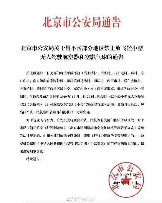 平安北京:即日起昌平部分地区禁飞航空器