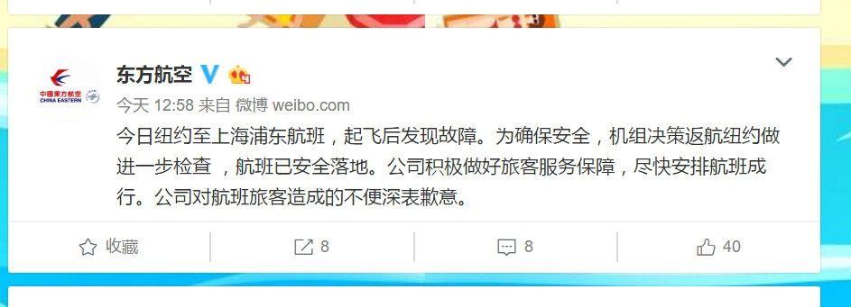 东航纽约至上海浦东一航班因故障返航 已安全落地