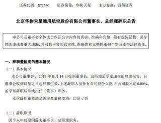 北京華彬天星通航董事長、總經理孟學東辭職