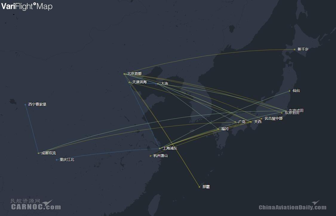 国航日本航线网络图