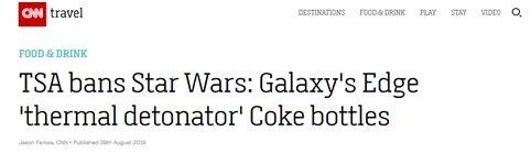 """美国禁止星战周边可乐瓶上飞机 因其形似""""手雷"""""""