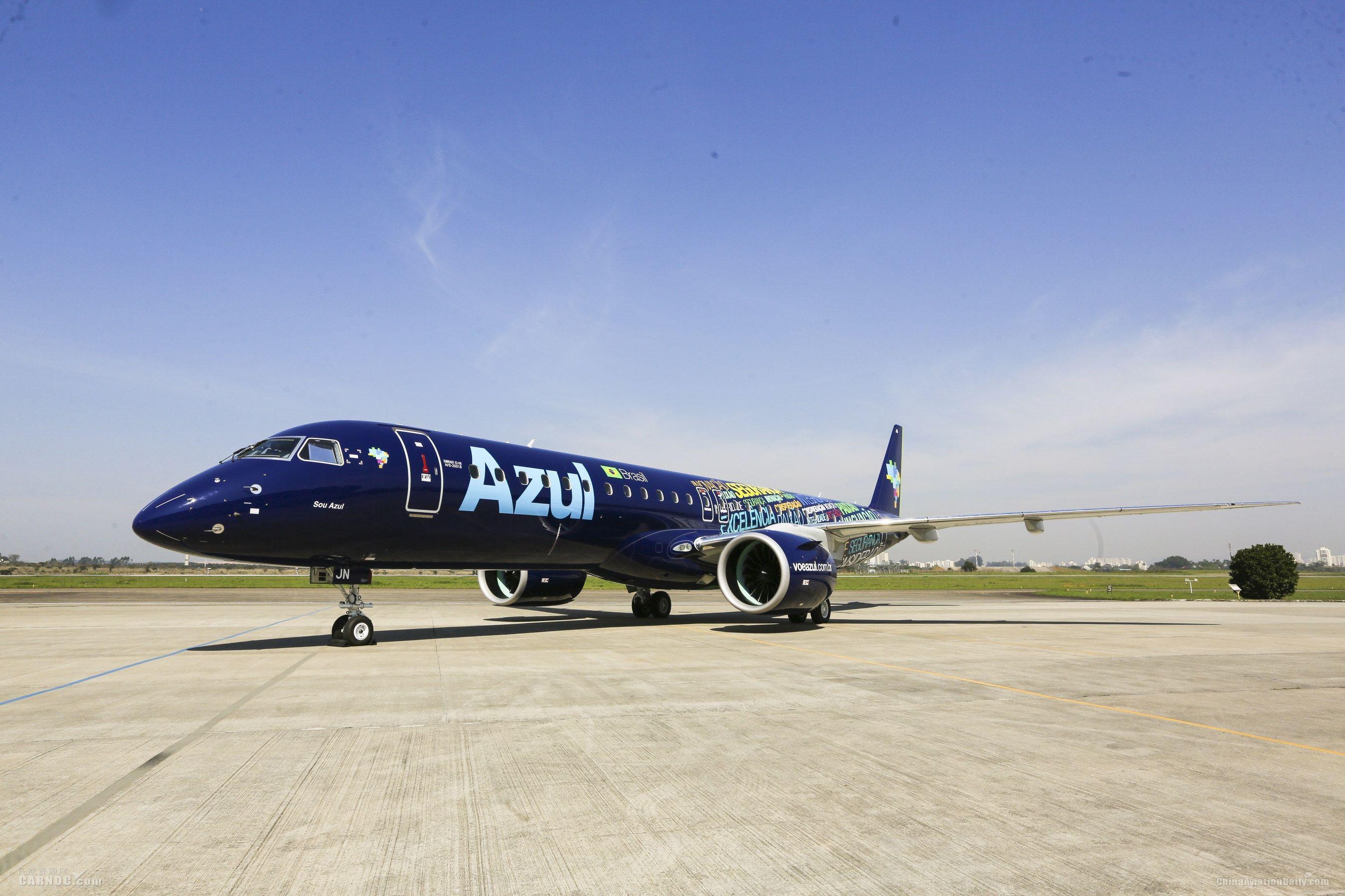 蔚蓝航空接收首架选装普惠GTF发动机的E195-E2飞机