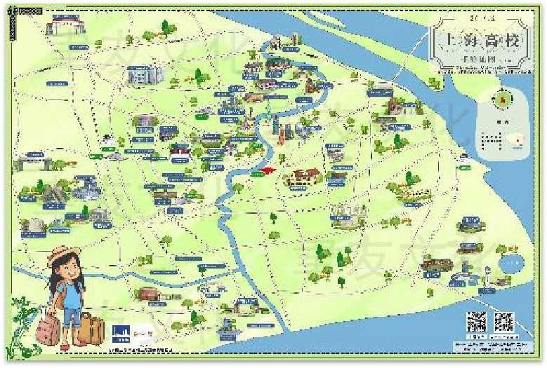 录取通知书—上海高校手绘地图 摄影:东航