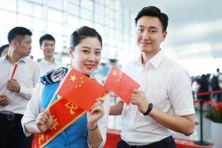南京禄口机场举办迎国庆快闪活动