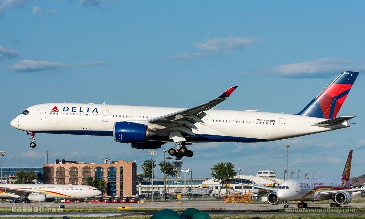 """图:达美航空N504DN号AIRBUS A350-900型客机。<a href=http://pic.feeyo.com target=_blank>民航图库</a>图片,摄影:民航资源网网友""""<a href=http://pic.feeyo.com/photo.jsp?userid=767600 target=_blank>zqm777</a>""""。浏览作者图库原帖《<a href=http://pic.feeyo.com/posts/671/6718505.html target=_blank>[原创]【PEK】北京拍机杂图</a>》。 摄影:zqm777"""