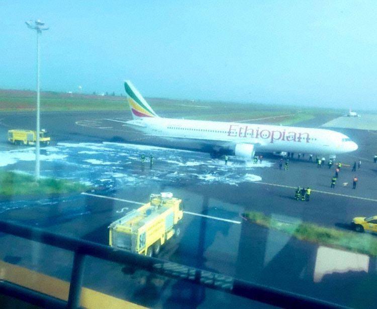 埃塞航一客机起飞后右发起火紧急返航 无人受伤