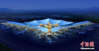 西藏最大航站楼拉萨机场T3航站楼主体封顶