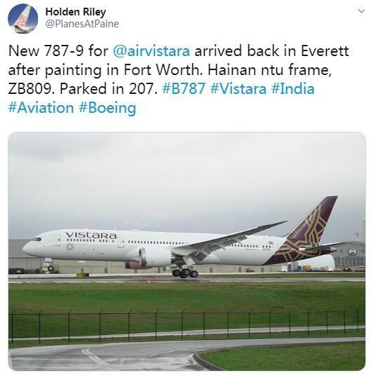 海航取消4架波音787-9订单 Vistara航空接手