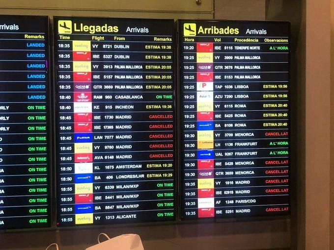 大量航班取消