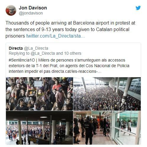 Twitter截图:巴塞罗那机场抗议示威