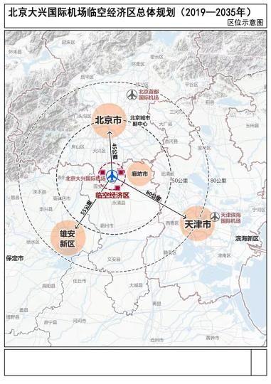 25日,《北京大兴国际机场临空经济区总体规划(2019—2035年)》正式批复实施。图为《临空经济区总体规划》区位示意图。
