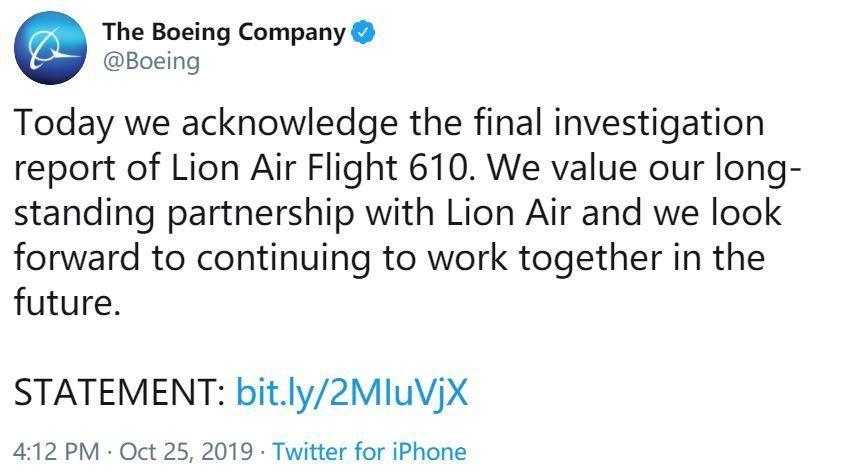波音就狮航空难最终调查报告发表声明
