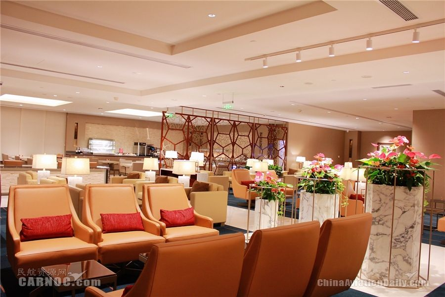 阿联酋航空浦东机场专属贵宾室重装开业 翻新投入达300万美元。阿联酋航空供图