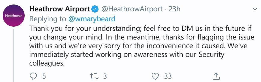 希思罗机场致歉 摄影:推特
