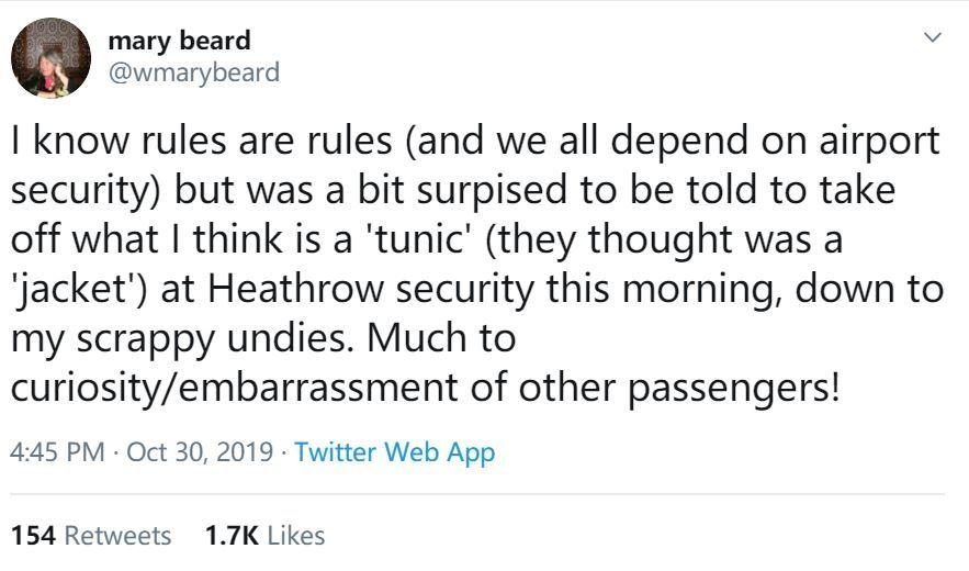 英女主持人分享过安检被要求当众脱紧身上衣的尴尬经历 摄影:推特