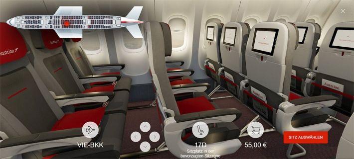 奥地利航空近日推出3D互动式座位预订功能