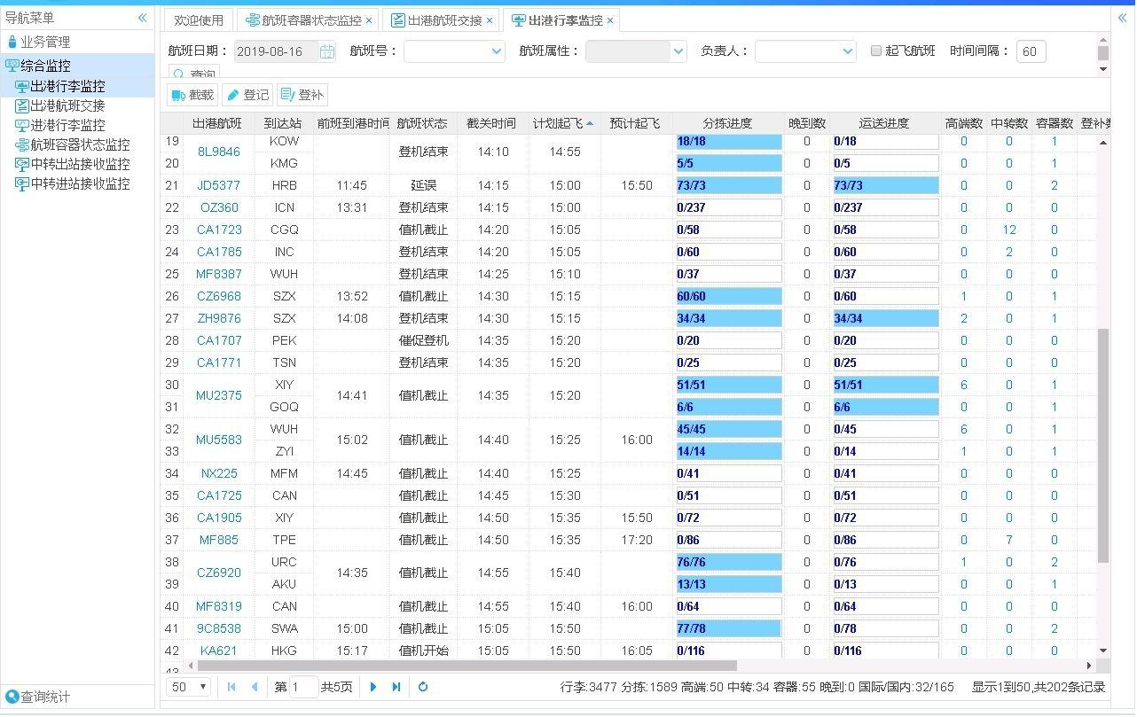 杭州机场行李再确认系统出港行李监控