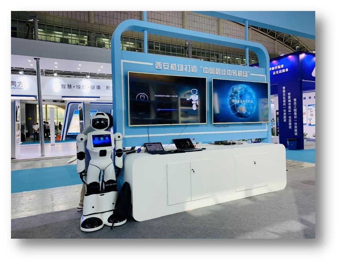 西安机场智能问讯项目代表西部机场集团参加2019欧亚经济论坛-中国(西安)电子商务博览会。