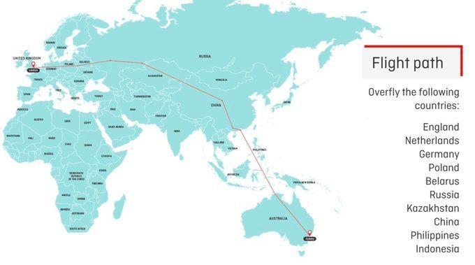 澳航试飞航班路线图